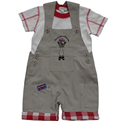 Baby Boys 0-12 Months 2 Piece Cotton Dungaree Set, Tourist Dog Embroidery.