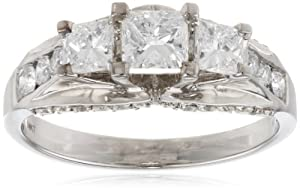 14k White Gold .50 cttw Princess-Cut Center Diamond Three Stone Engagement Ring (1.50 cttw, H-I Color, I1-I2 Clarity), Size 7