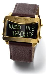 Lambretta gents LCD, gold case, brown strap watch