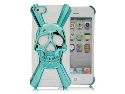 HJX Blue iphone 5 X Shape New Special Skull Hard Case Cover Skin for iPhone 5 5g
