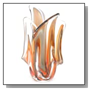 Ecco!Murano Hand Blown Large Vase Red andAmber