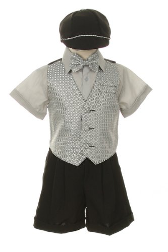 Dress Shorts Suit Tuxedo Vest Outfit Set-Infant Baby Boys & Toddler,Gray-Silver