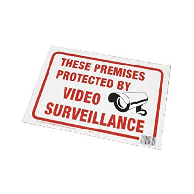 """Hy-Ko Plastic Sign White 9"""" X 12"""" Protected By Video Surveillance Polystyrene from Hy-Ko Products Co"""