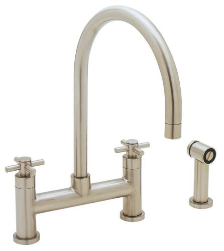 Blanco 440573 Meridian Bridge Kitchen Faucet with Cold Water Only Metal Side Spray, Satin Nickel