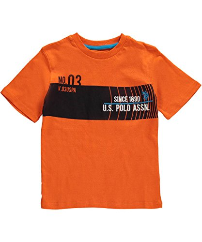 U.S. Polo Assn. Little Boys' Chest Stripe Short Sleeve Graphic Crew Neck Jersey T-Shirt, Summer Orange, 4