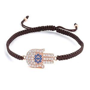 Bling Jewelry Rose Gold Plated Sterling Silver CZ Hamsa Hand Bracelet Shamballa Inspired