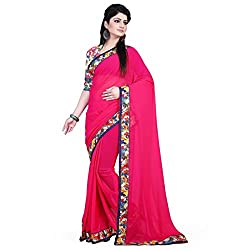Chic Magenta Colored Border Worked Faux Georgette Saree