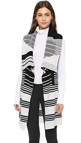 Vince Women's Graphic Stripe Drape Vest, Black/Off White, X-Small