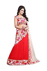 Granth Red Georgette Straight Semi Stitched Lehenga
