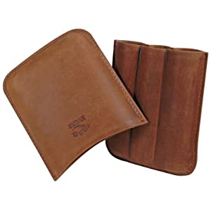 Leather Cigar Carrying Case Diesel By Cuban Crafters - Handcrafted Tan Saddle Leather - 3 Fingers - Holds 3 Cigars up to 64 Ring Gauge