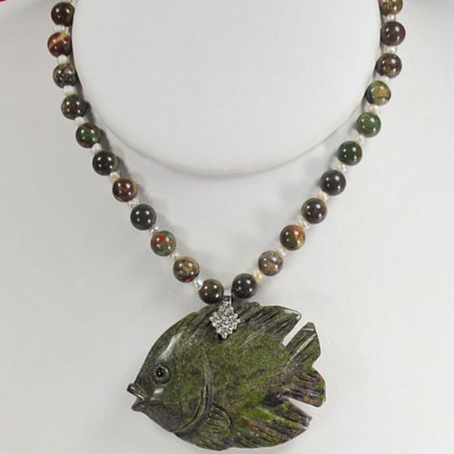 Natural Picasso Jasper, Pearl & Carved Fish Pendant Silver Necklace N2_0620_10