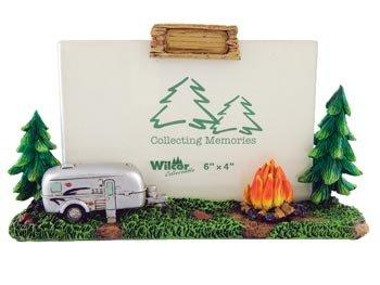 Vintage Camper Wilderness Scene Sculpture Photo Picture Frame, 4x6, Horizontal Landscape, Standing Tabletop