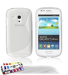 """MUZZANO Coque Souple ORIGINALE Ultra Fine Blanc """"Le S"""" Premium pour SAMSUNG GALAXY S3 MINI ( I8190 ) + 3 Protections Ecran """"UltraClear"""" Pour SAMSUNG GALAXY S3 MINI ( I8190 )"""