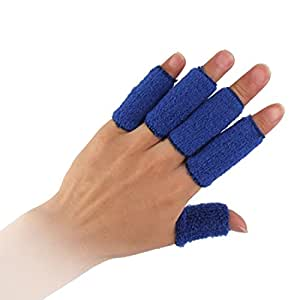 uxcell Blue 10PCS Sports Elastic Finger Sleeve Protector