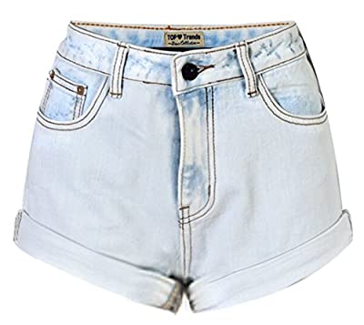 Liveinu Women's Retro Girl High Waisted Crimping Boyfriend Jeans Shorts Pant