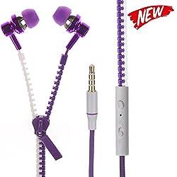 UniX Super Bass Premium Quality Zipper Universal Headphone with Volume Control in line Mic For iPhone/Samsung Galaxy Mobile/Xiaomi/LeTV/Coolpad/Huawei/Apple iPhone iPod iPad MAC / PC
