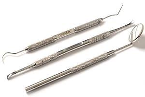 CANDURE® - Set dental de 3 piezas - Raspador dientes extrae placa calculus tartar - Set escaler y espejo dental por CANDURE®