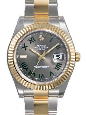 Rolex Datejust II Grey Roman Dial 18k Yellow Gold Bezel Two Tone Oyster Bracelet Mens Watch 116333GYRO