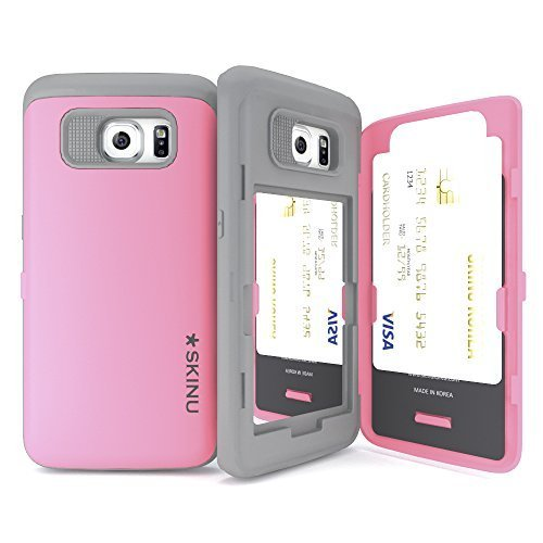 galaxy s6 edge case, galaxy s6 edge Card case, Skinu [Eureka] [Pastel Pink] [Shockproof 2 in 1 Hybrid] [Dual Layer] - [Card Slot] [Drop Protection] [Wallet] [Kick Stand] - For Samsung Galaxy S6 Edge