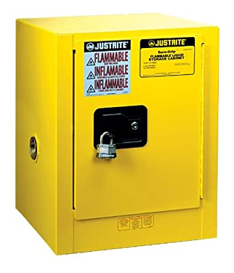 "Justrite Sure-Grip EX 890400 Safety Cabinet for Flammable Liquids, 1 Door, 1 Shelf, Manual Close, 4 gallon, 22""Height, 17""Width, 17""Depth, Steel, Yellow"