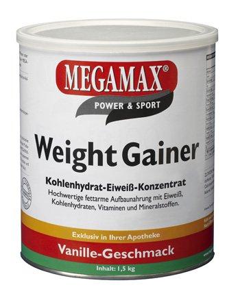Megamax Weight Gainer Vanille 1,5 kg mit nur 0,5% Fett