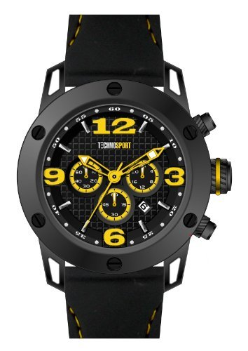 Technosport Stainless Steel Chronograph TS420-4 Black leather Watch