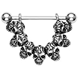 Gothic 7 Skulls Surgical Steel Nipple Bar Shield