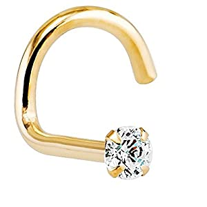 VS1- 1.5mm (.015 ct. tw) Diamond 14K Yellow Gold Nose Ring Twist Screw - 20G