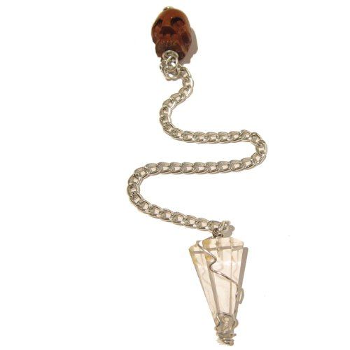 Quartz Pendulum 08 Brown Wood Skull Reiki Energy Healing Crystal Dowsing