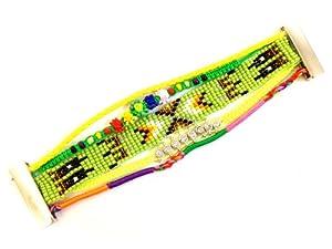 BR.828 - Bracelet Femme - Manchette Brésilien Ethnique Vert - Fermoir Aimanté Magnétique
