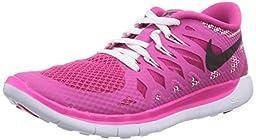 Nike Free 5.0 (GS) Girls Running Shoes 644446-602 Hot Pink White-Black 5.5 M US