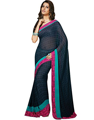 Cbazaar Blue Viscose Saree with Blouse Piece