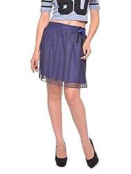 Vvoguish Corporate Wear Nylon Solids Blue Skirt-VVSK825BLU-S