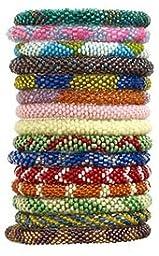 1 X Wholesale - Random Mix of Nepal Glass Beaded Bracelets (Set of 6)