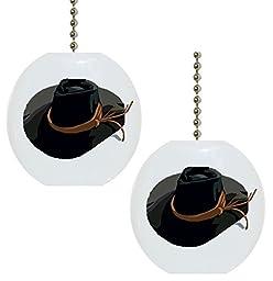Set of 2 Cowboy Hat Farm Western Solid CERAMIC Fan Pulls