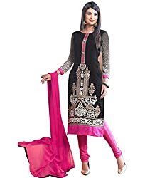 Shayona Women's Georgette Semi Stitched Dress Material_SSE9026SRK_Black_Free Size