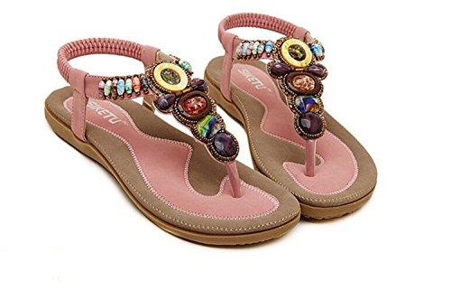 Womens Bohemia Flowers String Flip-flop Flat Sandals Beach Shoes Cherokee Crop Pants