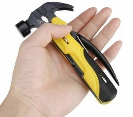 R'DEER RT-2345 7 in 1 Multi Mini Foldaway Survival Tool Pocket Knife Hammer Plers Screwdriver Tools Set By GokuStore