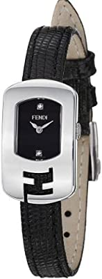 Fendi Chameleon Ladies Black Dial Black Leather Strap Diamond Watch F300021011D1 by Fendi