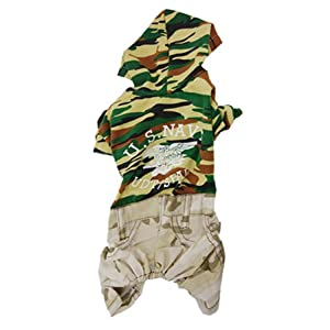 Jardin Pet Dog Camouflage Print Hoodie Jumpsuit Clothes, Small