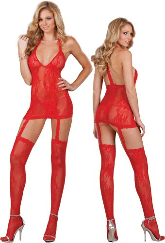 Sexy Sheer Red Lace Lingerie Set – Dress and Stockings image