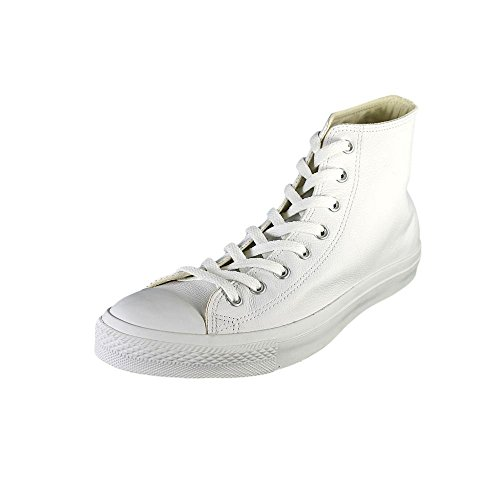Converse Chuck Taylor All Star Leather Hi White Mono (10.5, White)