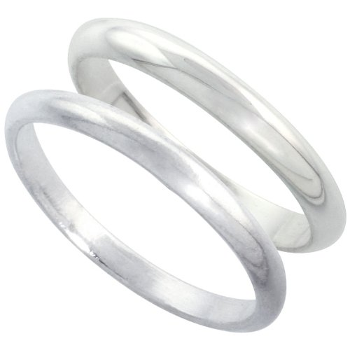 Sterling Silver High Dome Wedding Band Ring Set His and Hers 2 mm + 3 mm, size 6