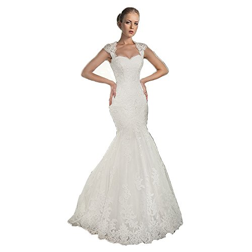 6539e692c259 Newdeve Cap Sleeve Saclloped Collar White Lace Bridal Gowns Long Mermaid (2)
