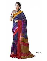 Dazzling Blue Bhagalpuri Printed Art Silk Designer Saree