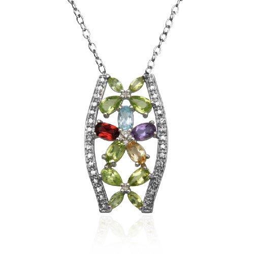 "Sterling Silver Multi-Gemstone and Diamond Flower Pendant, 18"""