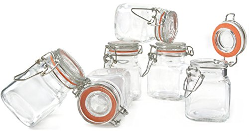 Grant Howard 50521 3.4-Ounce Square Clear Glass Spice Jar, Set of 24, Small (Small Airtight Glass compare prices)