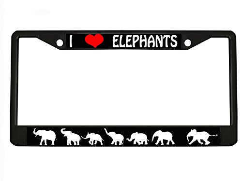 I LOVE ELEPHANTS black Metal Auto License Plate Frame Car Tag Holder with car banner flag hanger