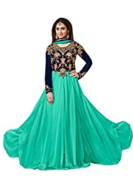 Shoppingover Bollywood Party Wear Anarkali Style Salwar Kameez in Georgette Fabric-Blue Color