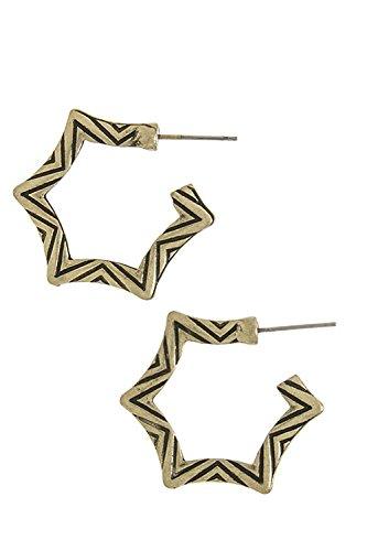 Karmas Canvas Small Chevron Design Star Earrings (Antique Gold) front-197112